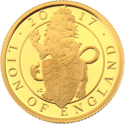 2017 Gold Proof Queens Beasts Lion Of England Andpound25 Coin