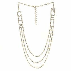 Cha-nel Logo Triple Strand Necklace Crystal Embellished Metal And Faux