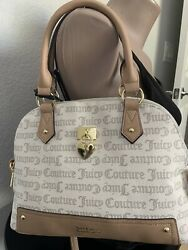 NEW JUICY COUTURE UNDER LOCK AND KEY DOME SATCHEL CROSSBODY BAG PECAN WHITE $52.00