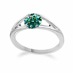 Round Moissanite And Natural Black Diamond Solitaire Band Ring 10k White Gold