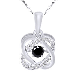 4.5 Ct Black Moissanite Sterling Silver Double Infinity Solitaire Pendant