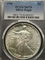 1986 American Silver Eagle S1 Pcgs Ms70 - Top Ebayer Since 2005 Silver Dollar