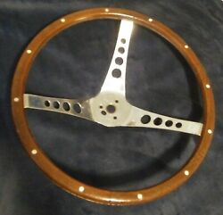 Vintage The 500 Superior Performance Products Wood Steering Wheel 15 1/2andrdquo