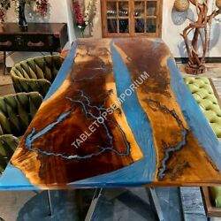 Blue Resin Epoxy Resin Dining Table Furniture Handmade Acacia Wooden Collectible