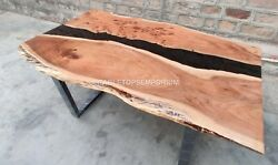Handmade Epoxy Black Resin River Center Conference Table Office Meeting Decor