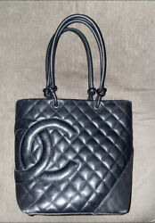 Authentic Chanel Bag Cambon Small Black Leather Tote Quilted CC $900.00