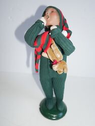 Byer Choice Christmas Caroler Boy In Pjs And Teddy Bear Excellent Condition 2000