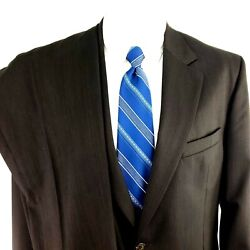 Jos A Bank Signature Collection 42r 2 Button 2 Piece Micro Check Wool Brown Suit