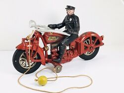 Hubley Indian 4 Cylinder Cast Iron Motorcycle With Hubley Sticker All Original