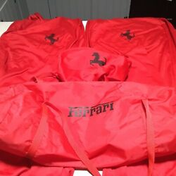 Ferrari Genuine Red Seat2and Steering Wheel1covers With Carrying Bag Clean