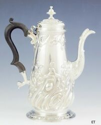 Antique 1737 English Georgian Sterling Silver Lighthouse Coffee Or Teapot