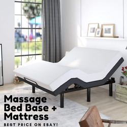 Queen Size Electric Bed Base Massage Medical W/ Remote 10 Memory Foam Mattress