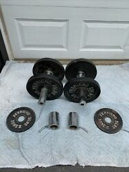 Vintage Ferrigno Weights 75 Lbs. Each Olympic Size Pair Set 150 Lbs Total
