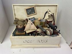 Vintage Wooden Toy Box Hand Crafted Old Toys Nautical Bear 13 X 6 X 10