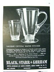 1951 Lalique Reims Pattern Crystal Water Pitcher And Glass Black Starr And Gorham Ad