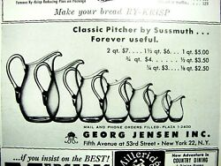 1954 Georg Jensen Glass Classic Sussmuth Pitcher Crystal 7 Sizes In Photo Vtg Ad