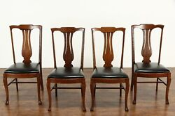 Set Of 4 Carved Quarter Sawn Oak Antique Dining Chairs, Leather Seats 37656