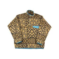 Synchilla Snap-t Tan Brown Teal Tribal Aztec Fleece Pullover Large