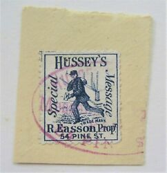 1878 Us Local Hussey's Special Message 87l64 Tied On Piece Purple Oval Cancel
