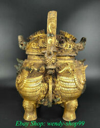 Old Chinese Bronze 24k Gold Dynasty Palace Portable Beast Face Drinking Vessel
