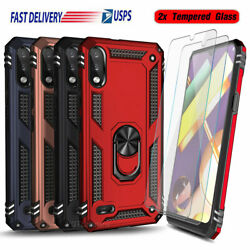 For Lg K22 K22+ Plus K32 Caseshockproof Ring Stand Cover+glass Screen Protector