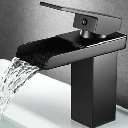 Bathroom Sink Faucet Brushed Nickel Waterfall Mixer Taps With Cover Deck Mounted
