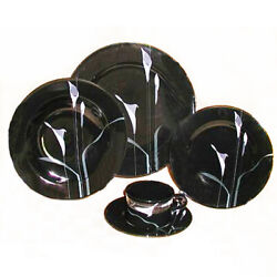 Mikasa Opus Black 5 Piece Place Setting Made In Japan Fk701 New Never Used