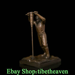 11.2 Rare Western Art Bronze Copper Marble Base Well Drilling Worker Statue