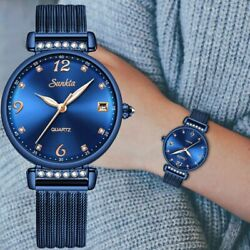 Luxury Mesh Band Watch Black Blue Gold Wristwatches New Xmas Gifts For Her Women