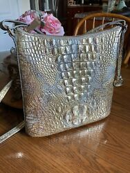 BRAHMIN KATIE SYMPHONY MELBOURNE CROSSBODY GOLD AND SILVER PERFECT $149.95