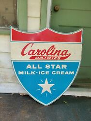 Vintage Metal Double Sided Carolina Dairy's All Star Milk Ice Cream Sign