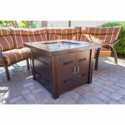 Fire Pit Table Propane Gas Square, Antique Bronze Finish Fire Glass Cover New