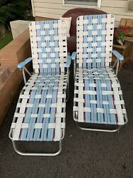 Vintage Aluminum Webbed Folding Lawn Chairs Chaise Lounge Blue