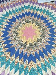 Antique Long Star Quilt-hand Sewn 80 X 80- On Point Diamonds