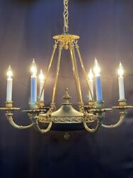 Antique Vintage French Empire Bronze Brass Tole Chandelier Stately 6 Light 25andrdquo