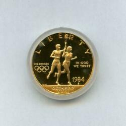 1984 S Olympic 10 Proof Commemorative Gold Coin W/ Box And Sleeve