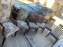6 Traditional Ethan Allen Ave Collection Dining Chair Paisley + Stripe Chairs