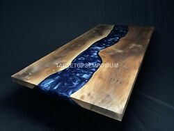 Epoxy Blue Resin Conference Wood Table Top Luxury Resin Table For Big Family Art