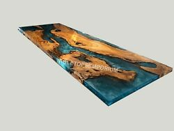 Blue Resin Epoxy Conference Meeting Table Top Wooden Acacia Art Kitchen Dandeacutecors