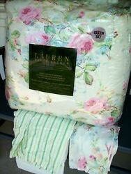 Nwt  Water Floral Queen Comforter 4pc Set Roses Cotton Sateen