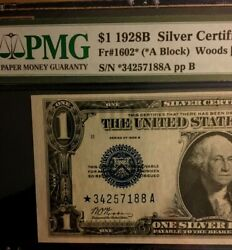 1928b 1 Pmg63 Choice Unc Silver Certificate Rare Star Woods/mills Funny Back