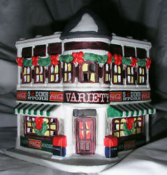 Christmas Village Coca Cola Town Square 5 An Dime Variety Store Light Works Mint