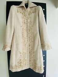 Wool Mix Coat Jacket Embroidered With Gold Threads Small Beige Cream Colour