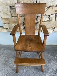 Antique Arts And Crafts Solid Quarter Sawn Oak High Chair Baby / Childs Kc Area