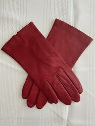 Vintage Fownes Bright Red 100 Silk Lined Leather Driving Gloves Size 7