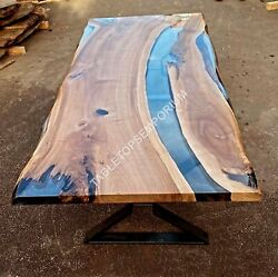 Clear Resin Design Epoxy Dining Conference Table Acacia Wooden Handmade Dandeacutecors