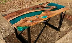 Green Resin Dining Table Wooden Unique Transparent Epoxy River Resin Epoxy Decor