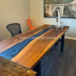 River Resin Dining Table Wooden Blue Transparent Epoxy River Mappa Burl Décor