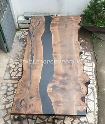 Black River Acacia Wood Epoxy Dining Table Resin Epoxy Resin Living Room Decors