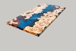 Blue Epoxy Table, Décor Acacia Wood, Office Desk River Dining Table Drawing Deco